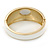 White Enamel Crystal Hinged Bangle Bracelet In Gold Plating - 18cm L - view 4