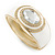 White Enamel Crystal Hinged Bangle Bracelet In Gold Plating - 18cm L - view 7