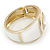 White Enamel Crystal Hinged Bangle Bracelet In Gold Plating - 18cm L - view 5