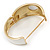 White Enamel Crystal Hinged Bangle Bracelet In Gold Plating - 18cm L - view 3
