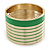 Wide Grass Green/ White Enamel Stripy Hinged Bangle In Gold Plating - 19cm L