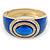 Royal Blue Enamel Crystal Hinged Bangle Bracelet In Gold Plating - 18cm L - view 8