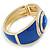 Royal Blue Enamel Crystal Hinged Bangle Bracelet In Gold Plating - 18cm L - view 5