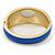 Royal Blue Enamel Crystal Hinged Bangle Bracelet In Gold Plating - 18cm L - view 7