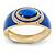 Royal Blue Enamel Crystal Hinged Bangle Bracelet In Gold Plating - 18cm L - view 4