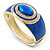 Royal Blue Enamel Crystal Hinged Bangle Bracelet In Gold Plating - 18cm L - view 9