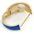 Royal Blue Enamel Crystal Hinged Bangle Bracelet In Gold Plating - 18cm L - view 3