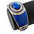 Royal Blue Enamel Crystal Hinged Bangle Bracelet In Gold Plating - 18cm L - view 6