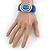 Royal Blue Enamel Crystal Hinged Bangle Bracelet In Gold Plating - 18cm L - view 2