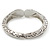 Vintage Inspired Double Heart Etched Hinged Bangle Bracelet In Silver Tone - 18cm L - view 5