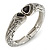 Vintage Inspired Double Heart Etched Hinged Bangle Bracelet In Silver Tone - 18cm L - view 7