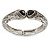 Vintage Inspired Double Heart Etched Hinged Bangle Bracelet In Silver Tone - 18cm L - view 8