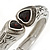 Vintage Inspired Double Heart Etched Hinged Bangle Bracelet In Silver Tone - 18cm L - view 4