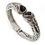 Vintage Inspired Double Heart Etched Hinged Bangle Bracelet In Silver Tone - 18cm L - view 6