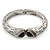 Vintage Inspired Double Heart Etched Hinged Bangle Bracelet In Silver Tone - 18cm L