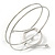 Silver Tone Open Circle Geometric with Clear Accent Upper Arm/ Armlet Bracelet - up to 27cm L - view 3