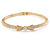Gold Plated Clear Crystal Bow Bangle Bracelet - 18cm L