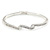 Delicate Clear Crystal Triple Leaf Bangle Bracelet In Rhodium Plating - 18cm L