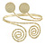 Gold Tone Hammered Circles And Swirls Upper Arm/ Armlet Bracelet - Adjustable