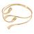 Polished Modern Leaves Upper Arm/ Armlet Bracelet In Gold Tone - Adjustable - view 5