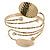 Vintage Inspired Hammered Oval Leaf Upper Arm, Armlet Bracelet - Adjustable
