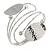 Silver Plated Hammered Oval Leaf Upper Arm, Armlet Bracelet - Adjustable - view 3
