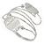Silver Plated Hammered Oval Leaf Upper Arm, Armlet Bracelet - Adjustable - view 4