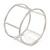 Matte Silver Tone Round Frame Slip On Bangle Bracelet - 19cm L - view 3