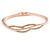 Delicate Clear Crystal Curved Bangle Bracelet In Rose Gold Tone Metal - 18cm L