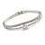 Delicate Rhodium Plated Cz, Clear Crystal Bangle Bracelet - 18cm L