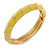 Lemon Yellow Enamel Hinged Bangle Bracelet In Gold Plating - 19cm L