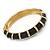 Black Enamel Hinged Bangle Bracelet In Gold Plating - 19cm L - view 5