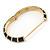 Black Enamel Hinged Bangle Bracelet In Gold Plating - 19cm L - view 4