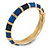 Navy Blue/ Midnight Blue Enamel Hinged Bangle Bracelet In Gold Plating - 19cm L