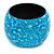 Chunky Sky Blue Marbled Effect Wood Bangle Bracelet - Medium - up to 19cm L