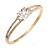 Show Off Crystal, Princess Cut Cz Bangle Bracelet in Polished Gold Tone Metal - 19cm L