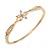 Exquisite CZ Flower Bangle Bracelet In Polished Gold Tone Metal - 18cm L