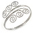 Greek Style Twirl Hammered Upper Arm, Armlet Bracelet In Silver Tone - Adjustable