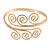 Greek Style Twirl Hammered Upper Arm, Armlet Bracelet In Gold Plating - Adjustable - view 3