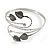 Antique Silver Tone Leaves and Crystals Upper Arm, Armlet Bracelet - Adjustable - view 4