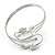 Antique Silver Tone Leaves and Crystals Upper Arm, Armlet Bracelet - Adjustable - view 5