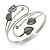 Antique Silver Tone Leaves and Crystals Upper Arm, Armlet Bracelet - Adjustable - view 2