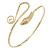 Gold Tone Metal Textured Snake Upper Arm Bracelet Armlet - Adjustable
