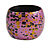 Chunky Wooden Bangle Bracelet in Pink/ Gold/ Black - view 4