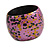 Chunky Wooden Bangle Bracelet in Pink/ Gold/ Black - view 6