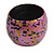 Chunky Wooden Bangle Bracelet in Pink/ Gold/ Black - view 7