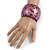 Chunky Wooden Bangle Bracelet in Pink/ Gold/ Black - view 2