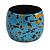 Wide Chunky Wooden Bangle Bracelet in Blue/ Gold/ Black