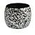Chunky Wooden Bangle Bracelet in Metallic Silver/ Black