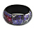 Round Wooden Bangle Bracelet in Abstract Paint in Pink/ Black/ Purple/ Silver- Medium Size - view 2
